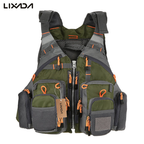 Lixada Fishing Vest  Adjustable Mesh Fly Fishing Vest With Mutil-Pocket Outdoor Sport Life Safety Jacket Swimming Sail for Pesca