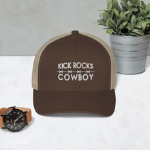 Load image into Gallery viewer, Kick Rocks Cowboy Trucker Hat