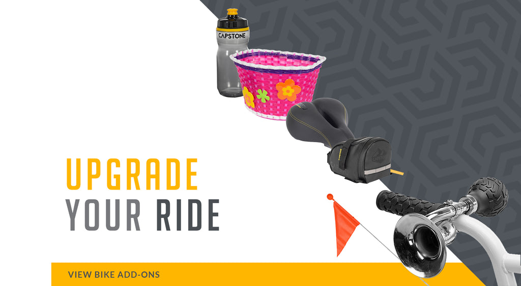 Upgrade Your Ride - Picture lineup of water bottle, pink flower basket, comfort seat, bike bag, and a bicycle horn - VIEW BIKE ADD-ONS