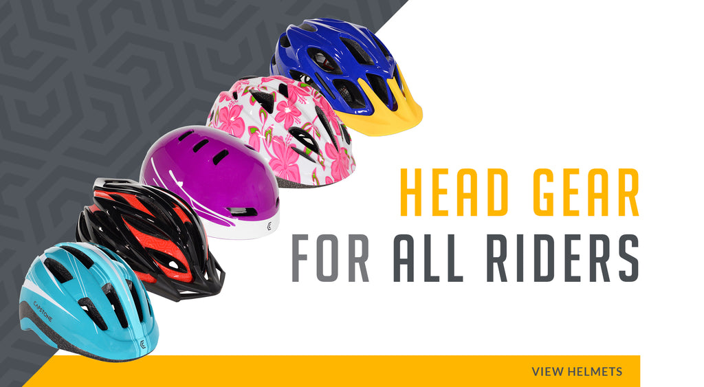 Head Gear For All Riders - Picture Lineup of blue, red & black, purple paint splatter, white & pink floral, and blue & yellow helmets - VIEW HELMETS