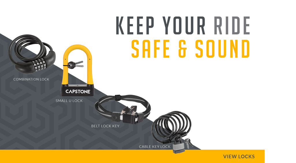 Keep Your Ride Safe & Sound - Picture Lineup of Combination Lock, Small U-Lock, Belt Lock & Key, and Cable & Key Lock - VIEW LOCKS