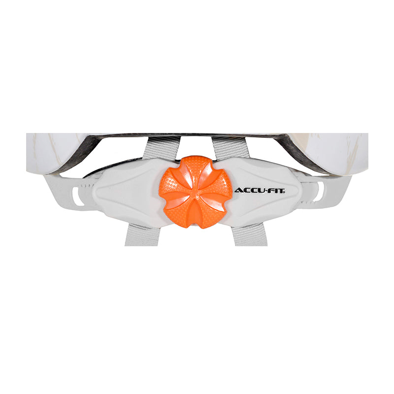 Close up of Orange Accufit Dial - Adult White & Beige Commuter Helmet
