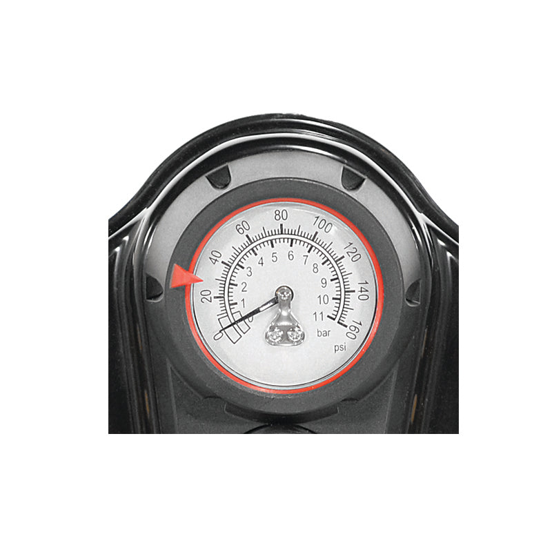 Alloy Air Pump w/ Gauge & Universal Head - Close up of PSI Gauge