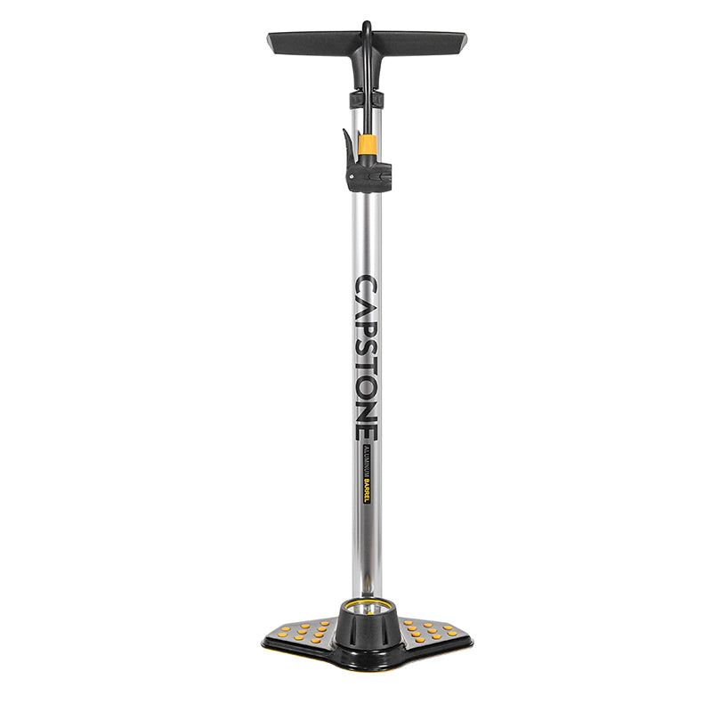 Alloy Air Pump w/ Gauge & Universal Head - Silver Finish with Black and Yellow Accents - Gauge and Foot Grips on Base
