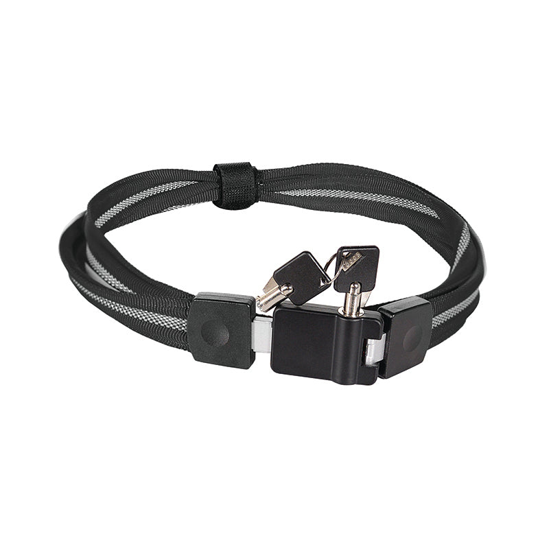 Belt Lock with Keys - Black and Grey Nylon with Plastic Buckles
