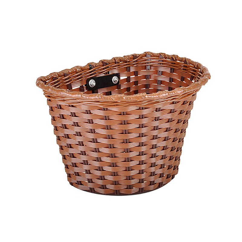 Brown Bicycle Basket - Interweaved brown plastic