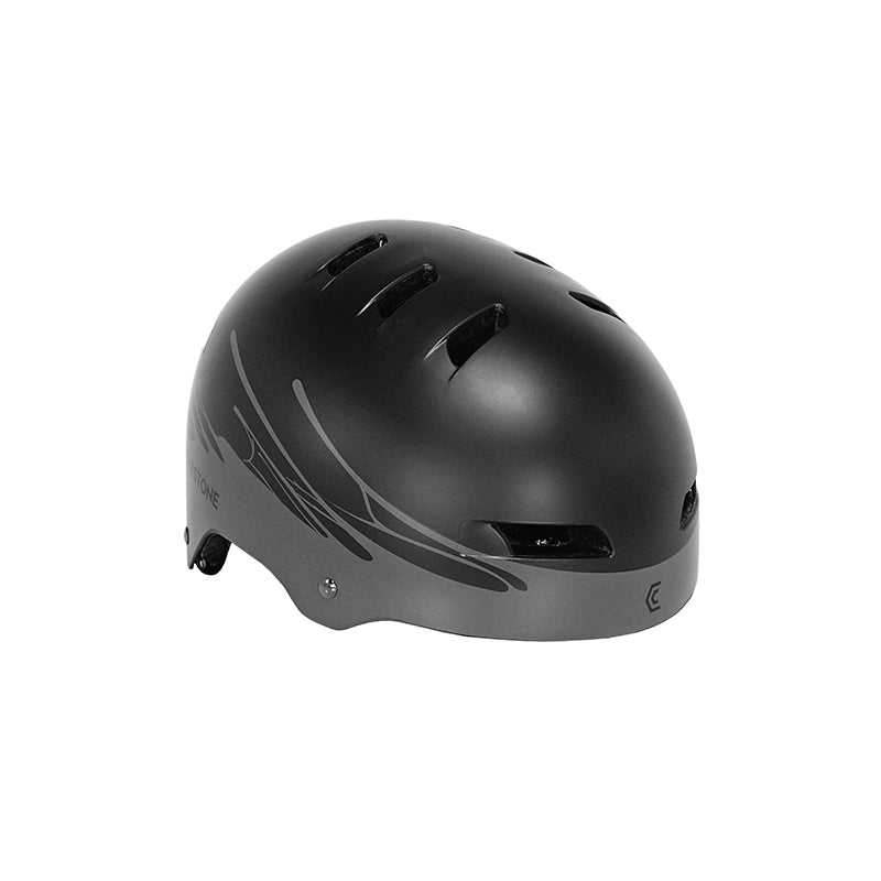 Youth black helmet with gray drip design