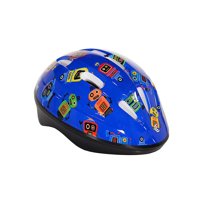 Toddler blue helmet with robots