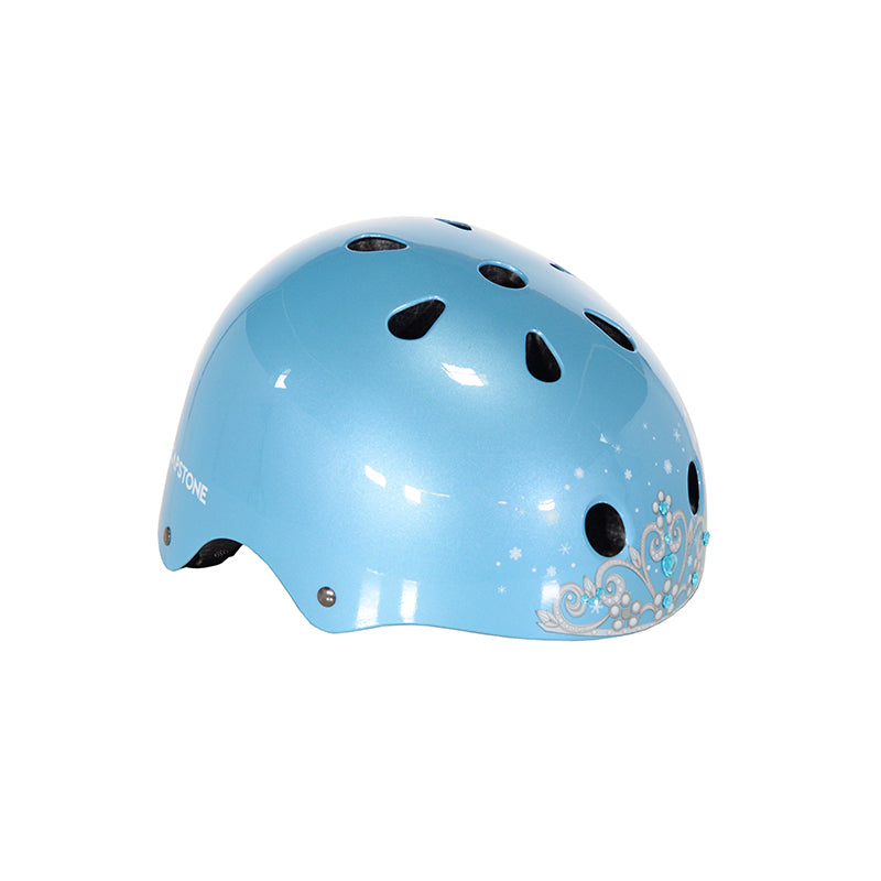 Child Tiara Helmet - Baby Blue Skate Helmet with Tiara Graphic in the center of the Helmet
