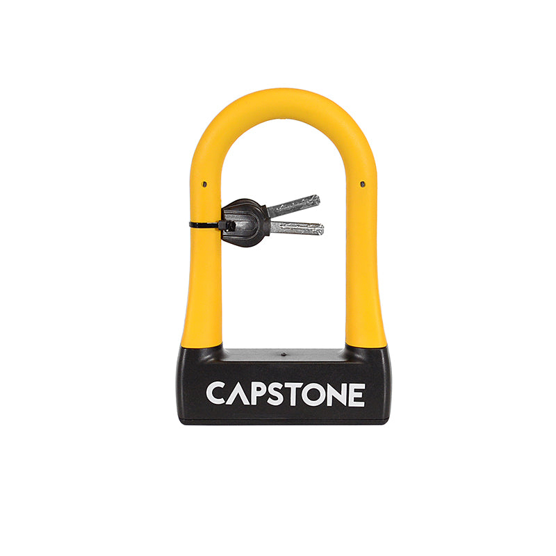 Compact U-Lock w/ Keys - Small Black lock with Yellow Accents - Small Capstone Logo