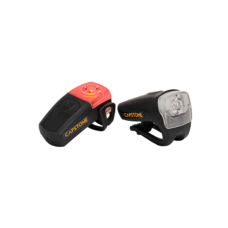 Compact USB Headlight & Tail Light - Black Casing with Bright and Blinking Modes - One red light - One white light