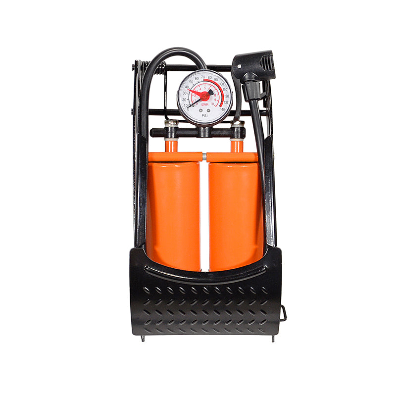 Orange Double Barrel Foot Pump