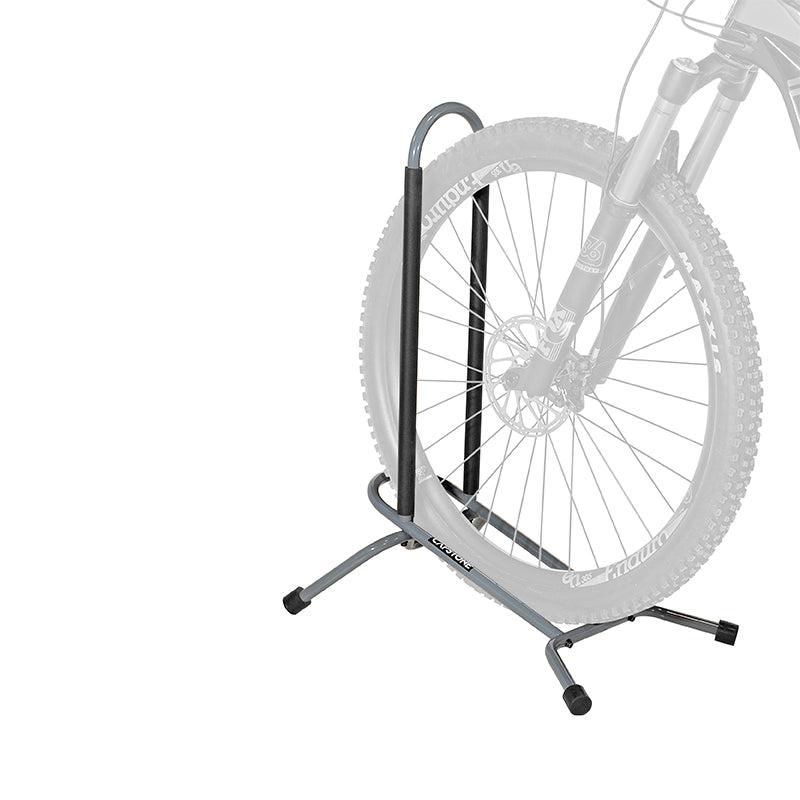 Bike stand to hold your bike in place by inserting front tire