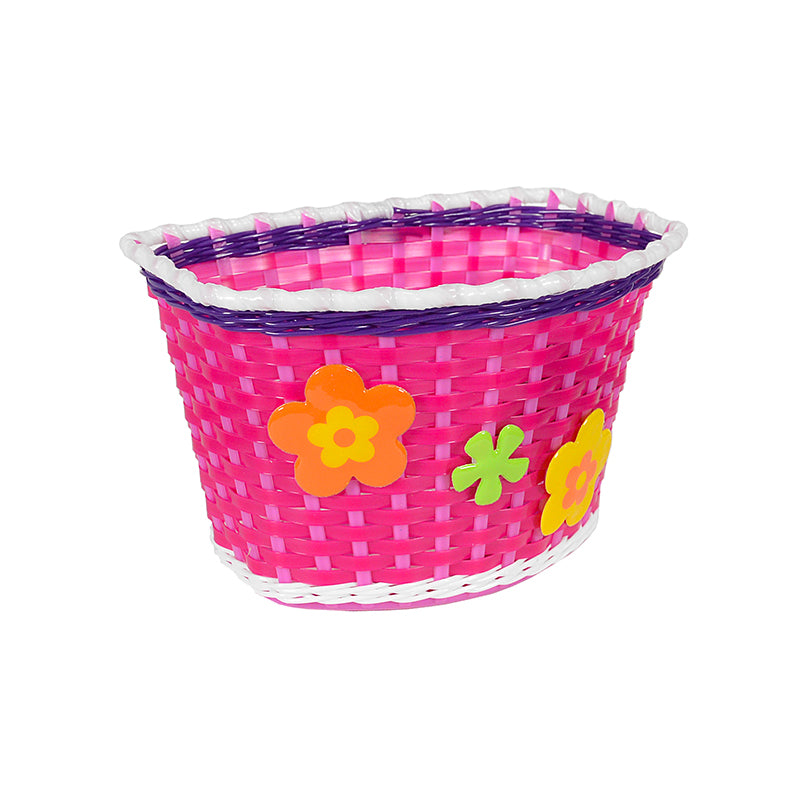 Woven pink basket with flowers