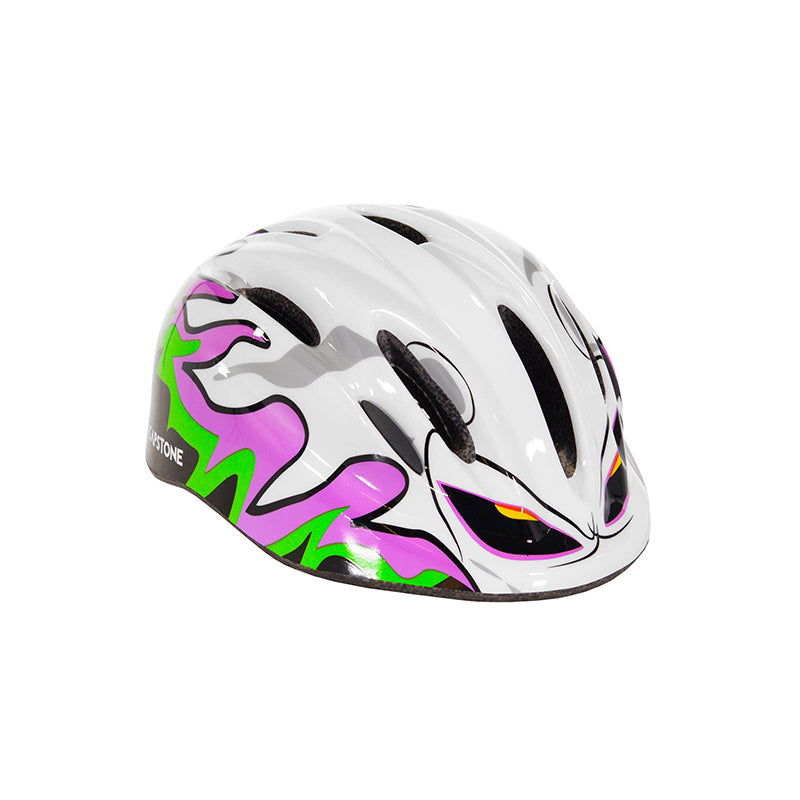 Youth ghost helmet with white, purple, and green design