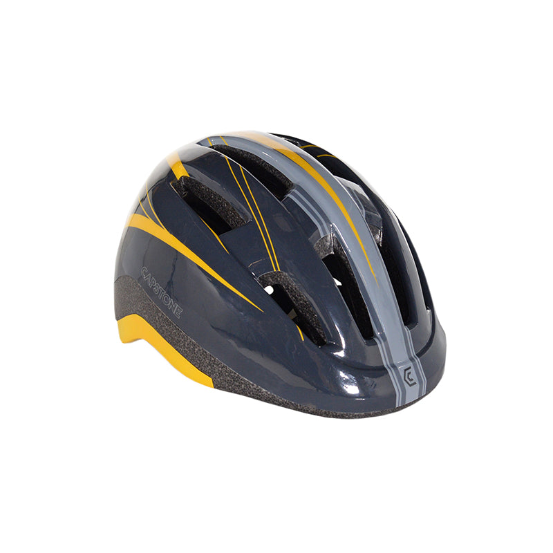 Angled View - Adult Men's Gray Helmet - Shades of grey and pops of yellow streaks