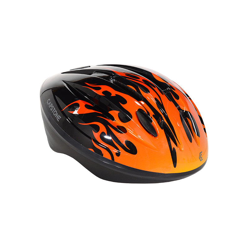 Child helmet black with hot rod flames