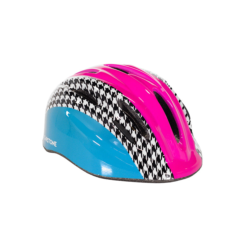 Youth Hounds-tooth helmet - Blue and Pink - Black and White