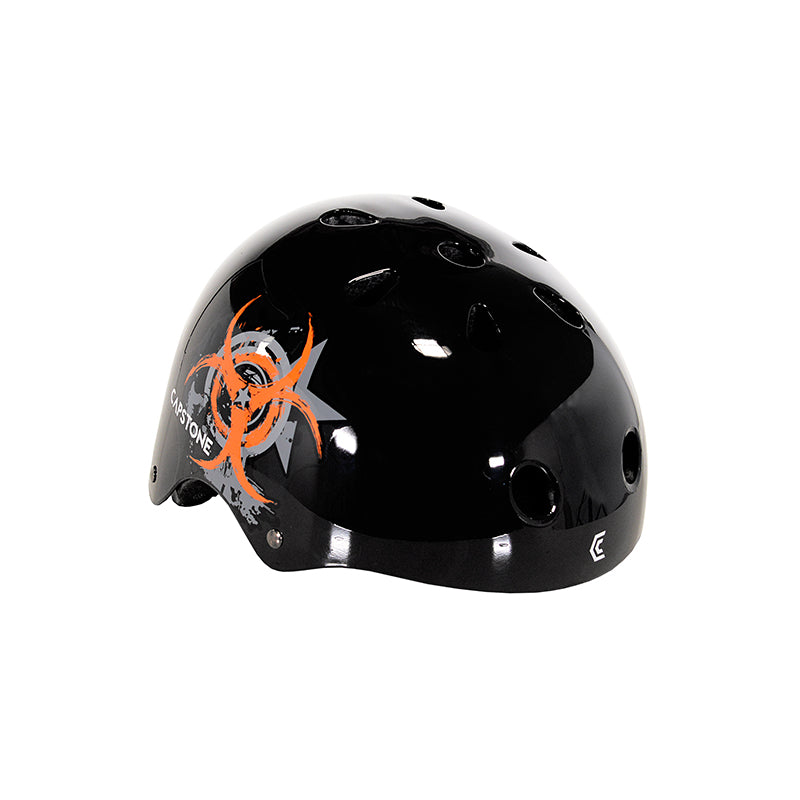 Child Outbreak Skate Helmet - Black with Orange and Grey Outbreak Symbol Graphic