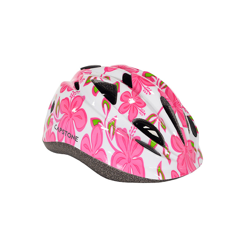 Child Hibiscus Helmet - Pink Flower Patterns with Green Leaves - White Base