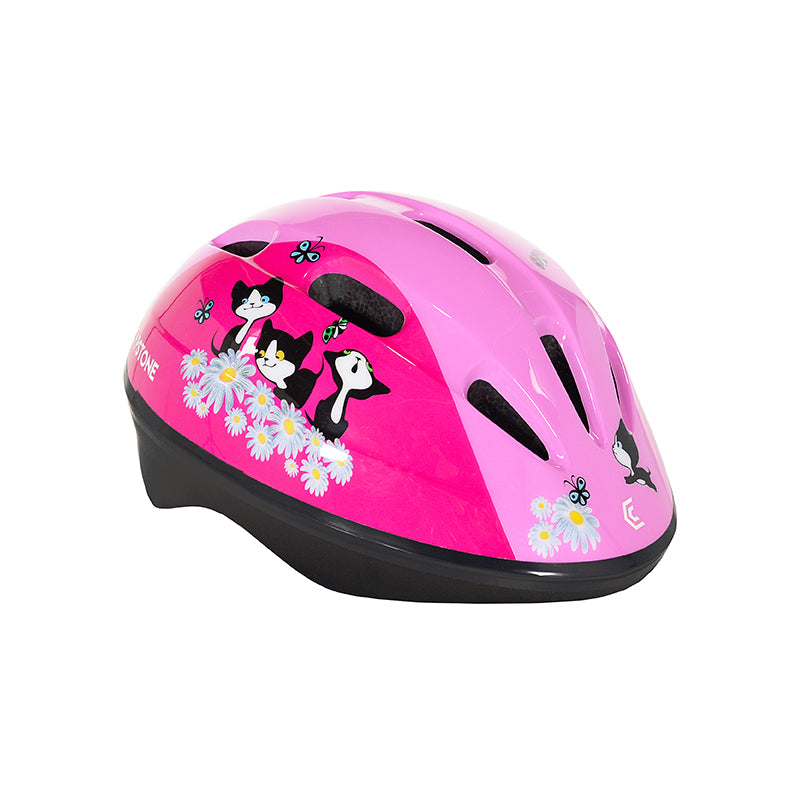 Toddler pink helmet with kittens and flowers design