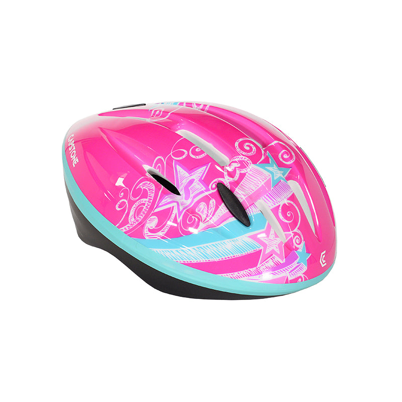 Child Shooting Star Helmet - Hot Pink with Bright Aqua accents - Sketchy white stars