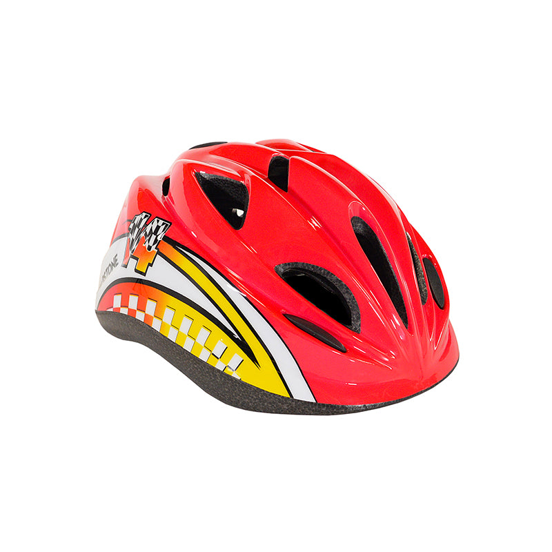 Child Raceway Helmet - Red with Yellow and White - 35 Racing Graphic with Racing Checkerboard Pattern