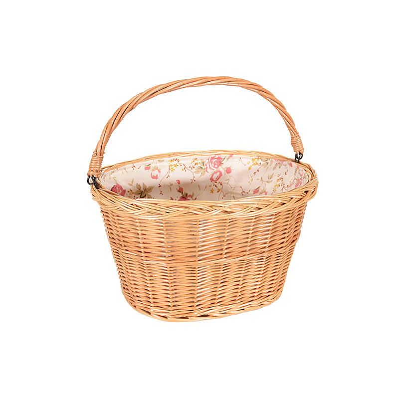 Wicker basket with flowered liner interior