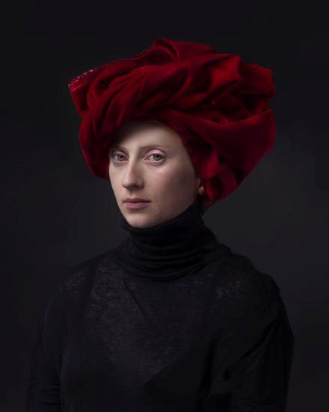 portrait by hendrik kerstens called red turban woman with red cloth on her head
