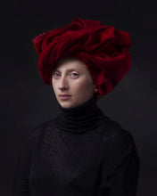 Load image into Gallery viewer, portrait by hendrik kerstens called red turban woman with red cloth on her head