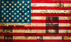 art work of american flag with origional newspaper clippings