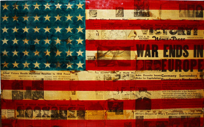art work of american flag with origional newspaper images