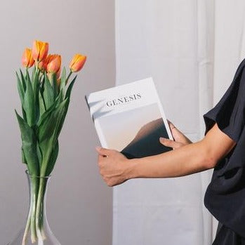 Bible Book Genesis with soft cover and a vase with tulips