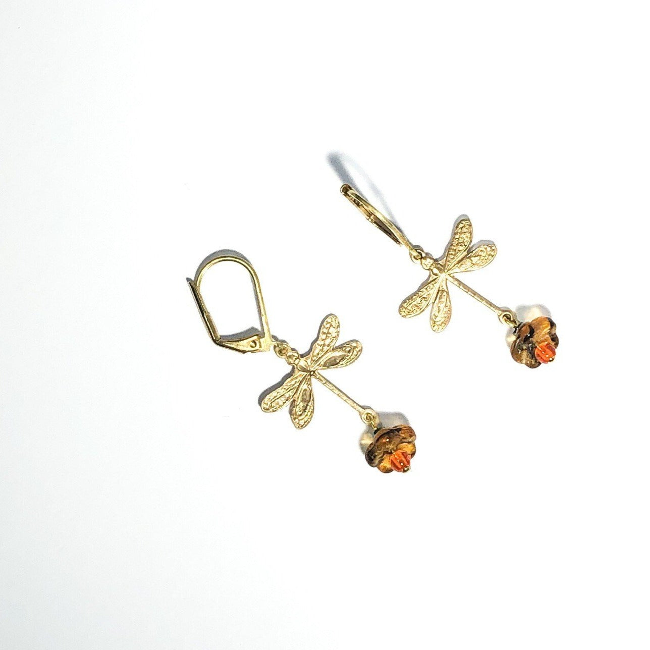 brass dragonfly earhangers with tangerine colored stone