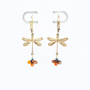 dragonfly earrings from brass and colored stones