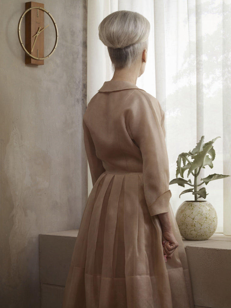 grief series portrait of Grace by Erwin Olaf woman with grey hair and bun