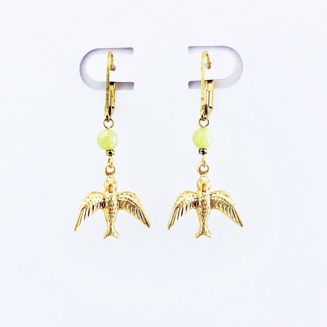 frida kahlo inspired hummingbird earrings with a yellow stone