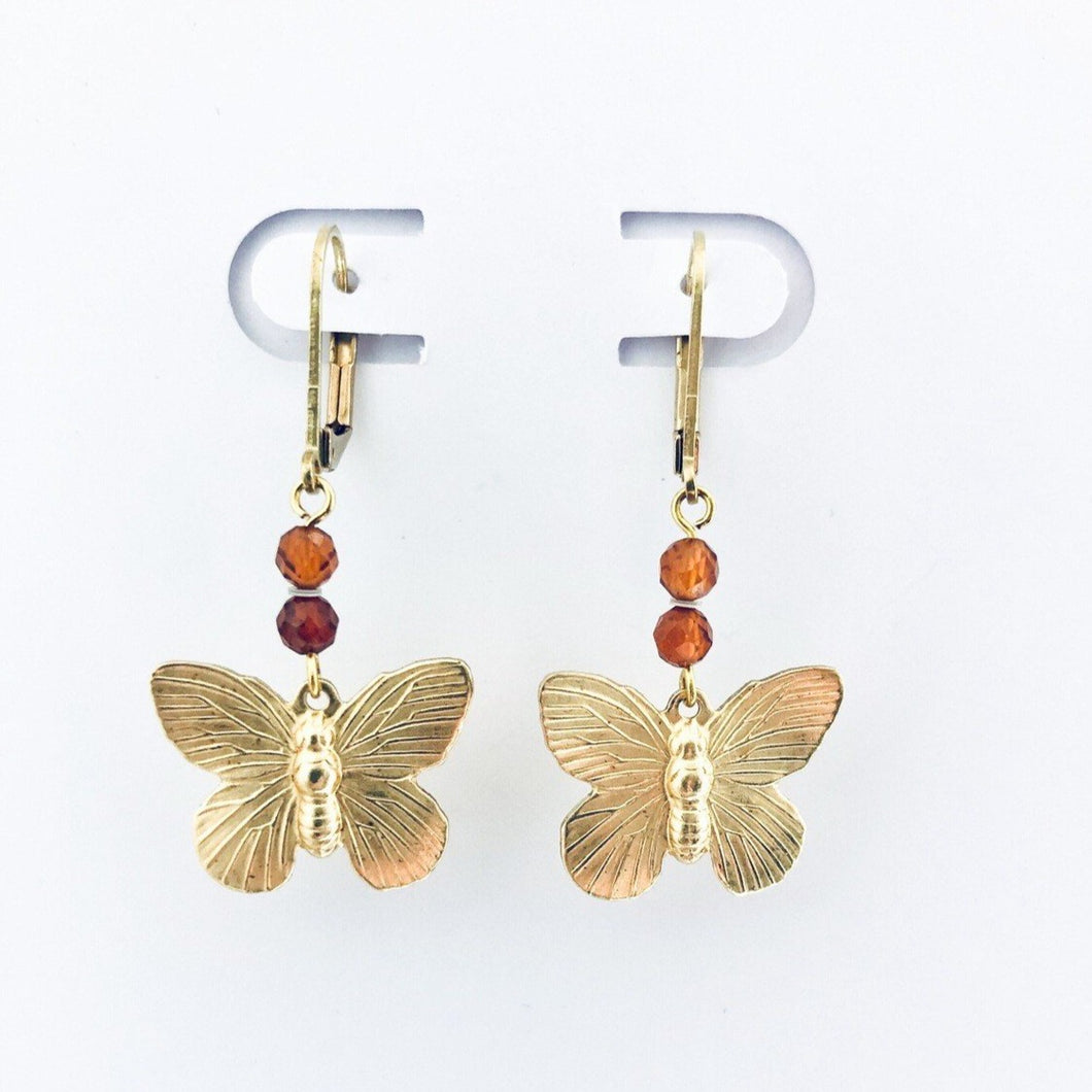 brass butterfly earrings with mandarin colored stones