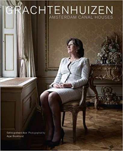 cover of coffee table book about Amsterdam canal houses with a woman sitting on chair