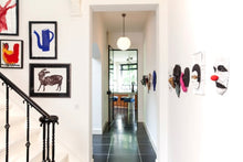 Load image into Gallery viewer, interior view with art works and row of sculptures in bronze by renee van leusden