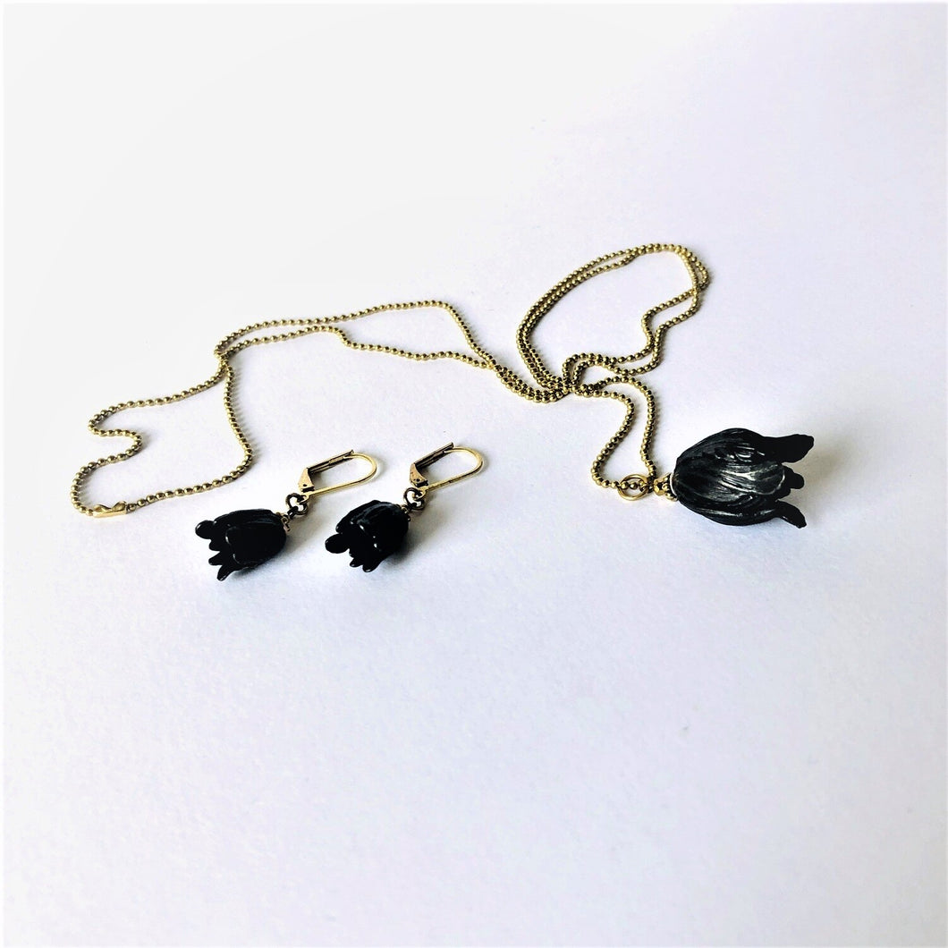 ART GIFT | Black tulip ball chain & earrings