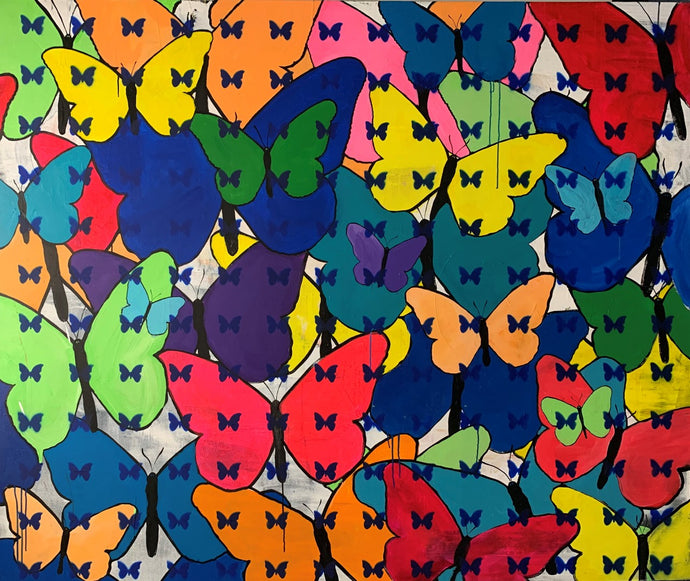 painting of colorful butterflies with smaller butterflies on top