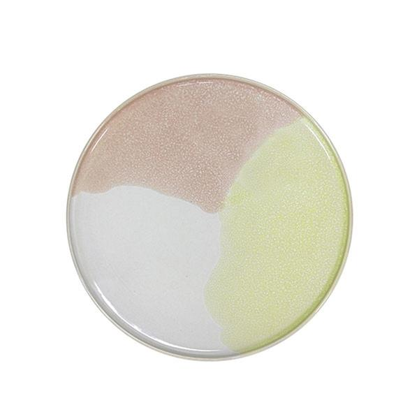 Gallery ceramics - 2 round side plates - yellow pink