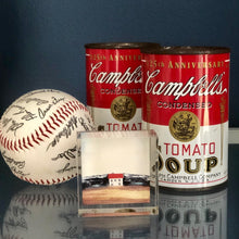 Load image into Gallery viewer, signed base ball with Campbell soup cans and art work