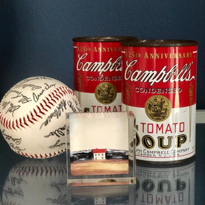 signed base ball with Campbell soup cans and art work