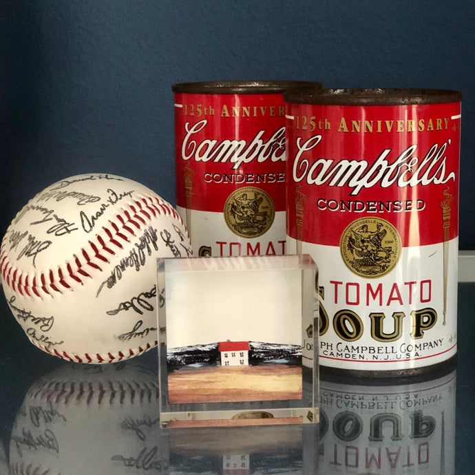 small artwork in box with campbells soup cans and signed baseball