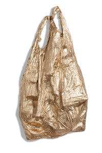 sculpture in bronze of plastic bags to address our consumer society