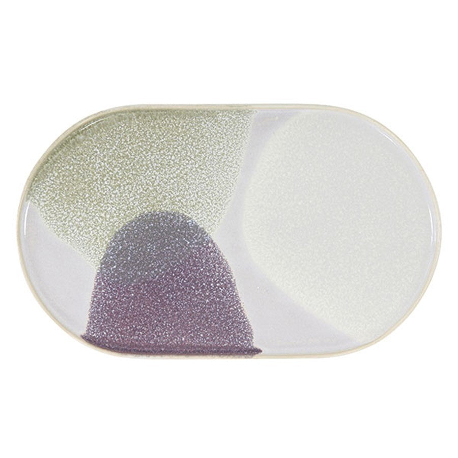 oval shaped ceramic plate with pastel colors