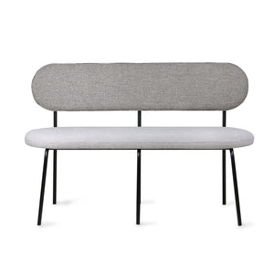 bench with seating and back upholstered with grey fabric