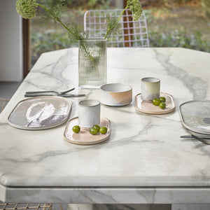 marble table with hkliving gallery ceramics in pastel colors